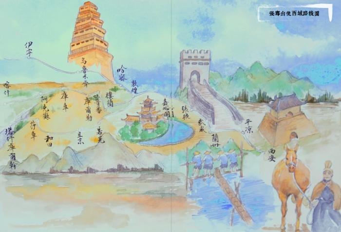 新疆手绘卡通背景图
